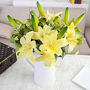XHSP for Flowers 12 Bunches Real-touch Double Head Artificial Lily Retro Fake flower Artificial Flowers Home Hotel Wedding Party Garden Decorative Arrangement Flowers 103
