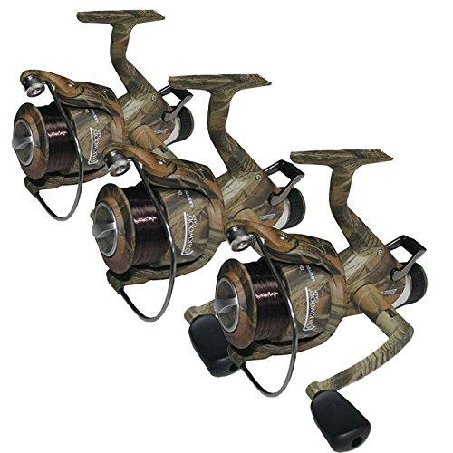 OAKWOOD 3 x CAMO 60 CARP RUNNER REELS WITH 12LB LINE FISHING REEL