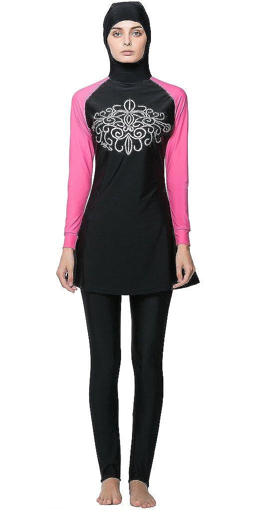 Amazon.com Ababalaya Womens\u0027 Modest Burkini Swimsuit Muslim Swimwear Hijab  Swimsuit Clothing