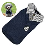 Petacc Warm Pet Stripe Sweater Comfortable Dog POLO Shirt Soft Puppy T-Shirt Pet Hoodie with Stripe Splicing and Collar Design (XL, Dark Blue) Review