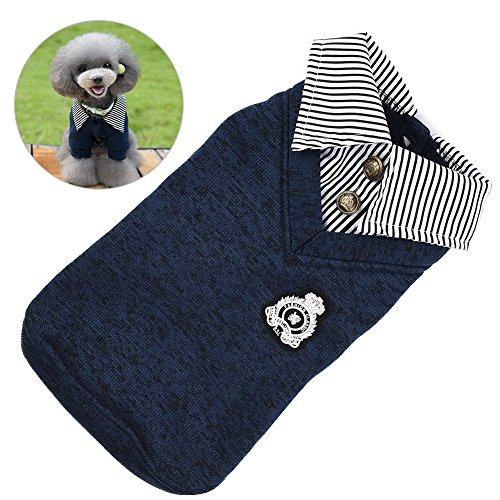 Petacc Warm Pet Stripe Sweater Comfortable Dog POLO Shirt Soft Puppy T-Shirt Pet Hoodie with Stripe Splicing and Collar Design (XL, Dark Blue)