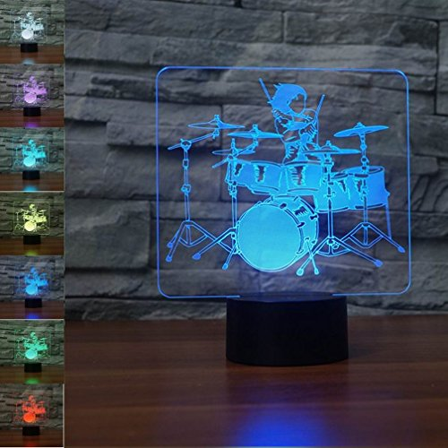 3D Drum Kit Night Light 7 Color Change LED Table Desk Lamp Acrylic Flat ABS Base USB Charger Home Decoration Toy Brithday Xmas Kid Children Gift - Acrylic Ball Table Lamp