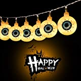 Brightown Halloween Eyeball String Light Battery Operated, 30 LED 9.8ft Halloween Lights, Perfect for Halloween Decoration, Warm White
