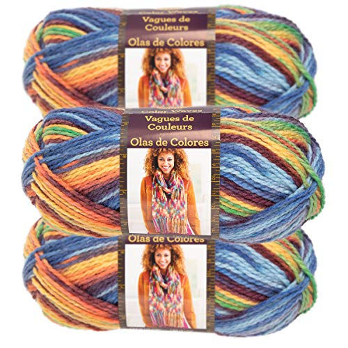 (Lion Brand Yarn (3 Pack) Color Waves Acrylic & Wool Yarn Light #3 Soft Yarn for Knitting Crocheting)