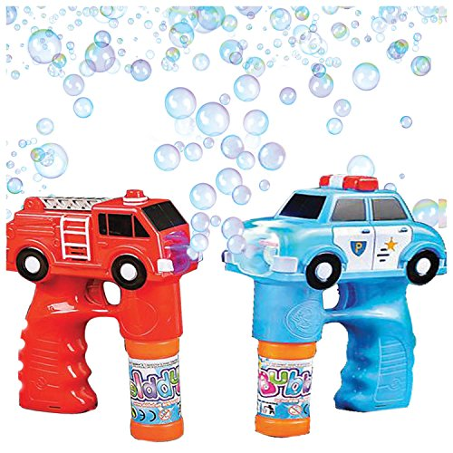 Bubble Machine Blower Gun Fire & Police Set by Art Creativity - Flashing Light and Sound Shooter Blasters - Children and Kids Toys - Fire Truck, Police Cruiser, 4 Solution Refills (Batteries Included) (Mr Crabs Costume)