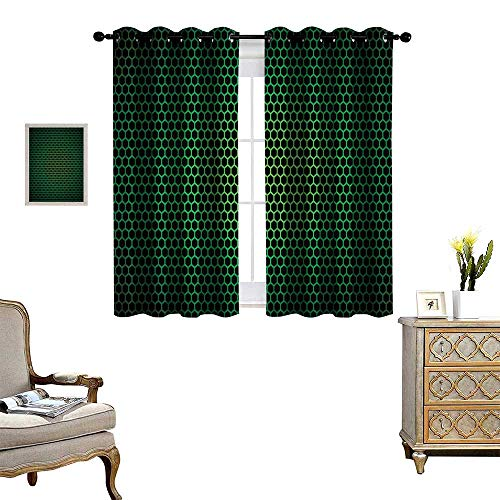 Price comparison product image Anyangeight Forest Green Room Darkening Wide Curtains Geometrical Honeycomb Pattern with Polygons Technology Themed Grid Mesh Tile Customized Curtains W55 x L45 Green Black