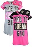Sweet & Sassy Girls Short Sleeve Nightgown Pajama with Eye Mask (2 Pack) Dream Big, Size 10'
