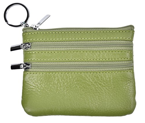 Yeeasy Womens Mini Coin Purse Wallet Genuine Leather Zipper Pouch with Key Ring (Green)