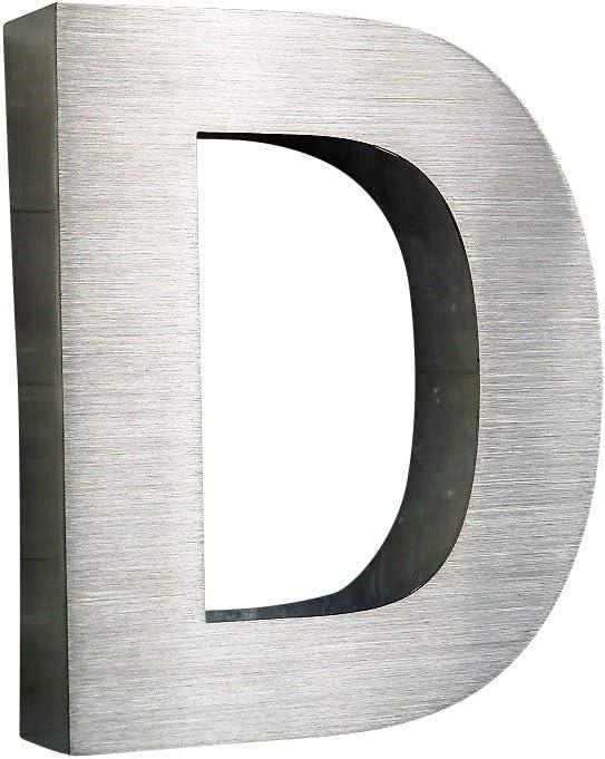 0,1,2,3,4,5,6,7,8,9,A,B,C,D 3D Hausnummer Buchstabe A Edelstahl Gro/ßschrift rostfrei witterungsbest/ändig 3D Effekt in 15cm H/öhe und 3cm Tiefe aus geb/ürstetem Edelstahl V2A erh/ältlich