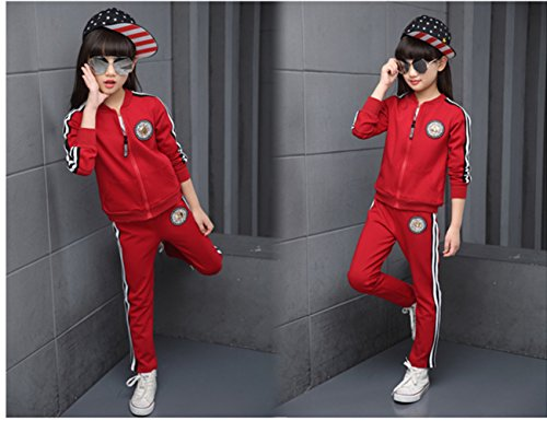 FTSUCQ Girls Zip Front Sports Tracksuits Striped Shirt Jacket Coat + Pants,Red 140 by FTSUCQ (Image #1)