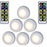 LEDMOMO Remote Control Puck Lights Cabinet led Lights Set Brightness Adjustable Stage Light 6pcs (Warm + White Light)