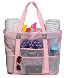 Malirona Mesh Beach Bag - Toy Tote Bag Large Grocery & Picnic Tote with 8 Pockets, Top Zipper (Pink)