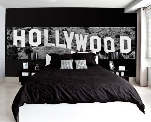 JP London MD4A157 Hollywood Hills Sign Pano City Fully Removable Prepasted Mural at 3-Feet High by 12-Feet Wide, Black and White by JP London (Image #1)