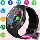 TURNMEON Smartwatch Bluetooth with SIM Card Slot Camera Pedometer Sleep Monitor Smart Watch Touch for Mothers Day Gifts Kids Boys Girls Women Lady Men Compatible for IOS Android Smart Phones (Black)