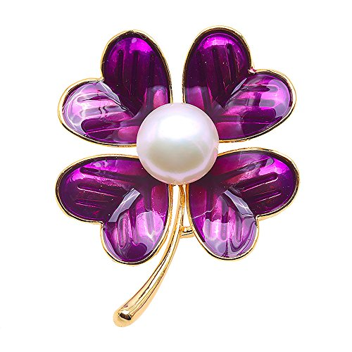 JYX Pearl Brooch Clover-Style 10.5mm White Cultured Pearl Brooch Pin