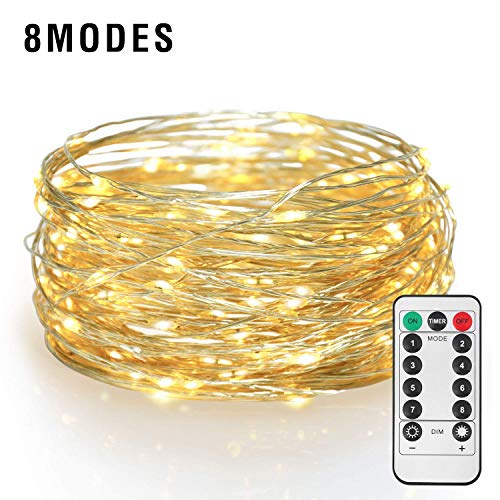 ETHINK 200 LED 65.6ft Auto Timer 8 Modes Remote Control Battery Operated Waterproof Dimmable Fairy String Copper Wire Lights for Christmas, Bedroom, Party, Patio, Wedding, Warm White (200LED) by ETHINK (Image #1)