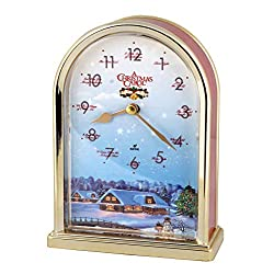 JUSTIME Peaceful Night 12 Song of Christmas Carols Table Mantel Clock Home Deco, Great for Gift (Red Marble)