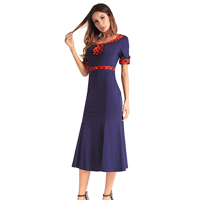 9e438e7da Dxlta Vestido para Mujeres - Manga Corta Dots Slim Patchwork Ropa de Trabajo  Vestidos Casuales  Amazon.es  Ropa y accesorios
