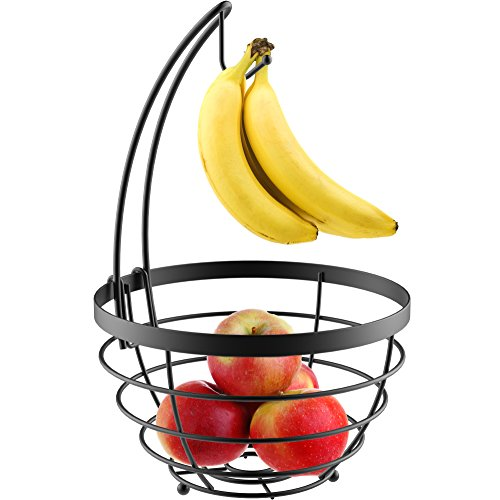 Vremi Fruit Basket for Kitchen - Wire Metal Fruit Bowl with Removable Banana Hanger - Round Baskets with Hanging Hook Holder in Black Decorative Modern Design - Fruits Storage for Countertop or Table (Banana Stem Decoration)