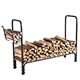 Firewood Rack with Kindle Holder, Indoor / Ourdoor Fireplace Log Storage Stand, 49.5 X 37.5 Inch , Black