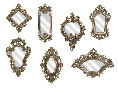 IMAX 52977-7 Loletta Victorian Inspired Mirrors – Set of 7 Ornate Mirrors, Handcrafted, Vintage Inspired Hanging Mirrors. Wall Mounted Mirrors (Mirror Silver Gilt)