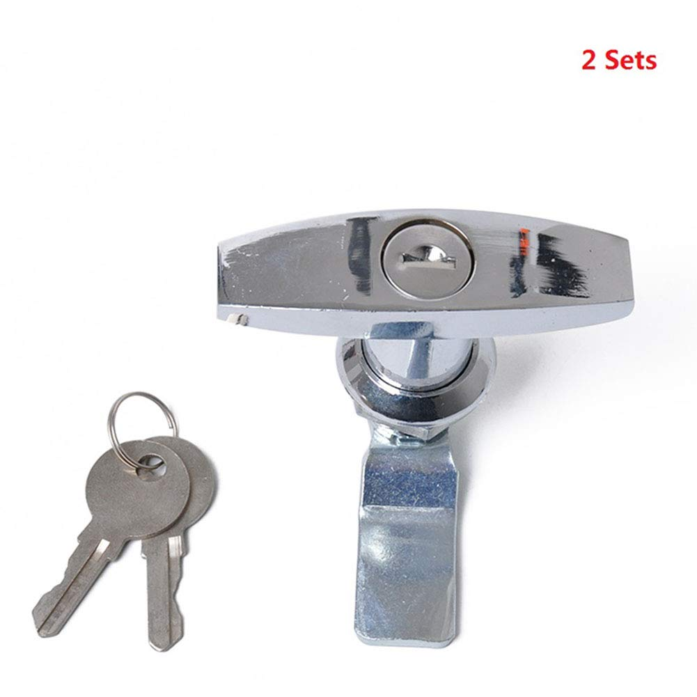 BEESCLOVER 2pcs/Set Chrome Plated T Lock Handle Trailer Caravan Toolbox Lock Silver A1597 by BEESCLOVER (Image #1)