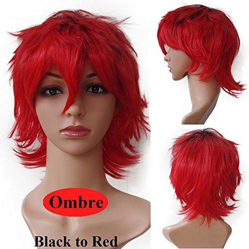 s-noilite Women Mens Short Anime Cosplay Wigs Ombre Loose Fluffy Tail Straight Synthetic Hair Full Wig Cool Party Costume(Black to Red) -