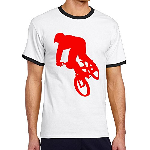 - Oopp Jfhg A Red Boy Rider BMX Crewneck Short Sleeve Tee Hit Color Mens