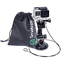 Smatree Suction Cup Mount + Stainless Steel Tether Lanyard + Drawstring Bag for GoPro Hero 5/4/3+/3/2/1/Session