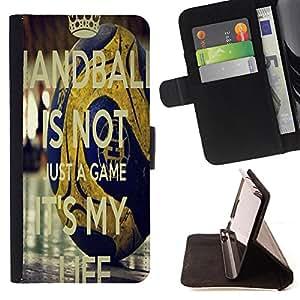 King Art - Premium-PU-Leder-Prima caja de la PU billetera de cuero con ranuras para tarjetas, efectivo Compartimiento desmontable y correa para la mu?eca FOR Samsung Galaxy S6 G9200 EDGE- HandBall