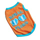 Meidus Stripe Pet Glasses Vest T-Shirt Dog Coat Puppy Jacket Costume LOrange