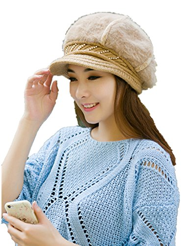 Lady Rabbit Rabbit Hair Blended Knitted Hat Warm Hat Hat Brown