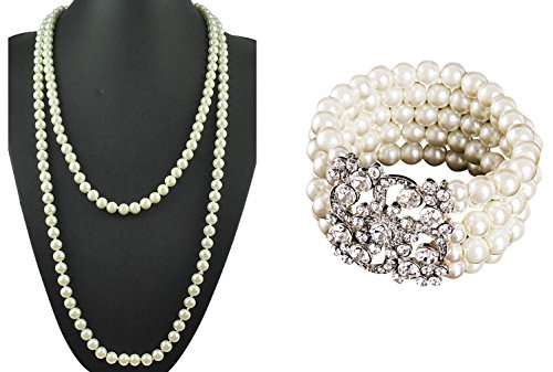 [Zivyes The Great Gatsby Inspired 5 Rows Simulated Pearl Elastic Bracelet and 59