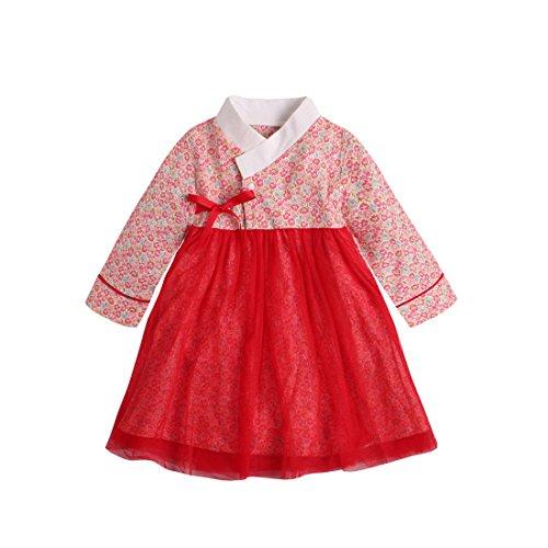 PAUBOLI Baby Meisje Koreaanse Kleding Lange Mouw Romper Jurk Koreaanse Hanbok Playwear