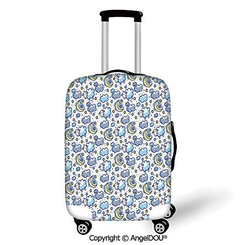 AngelDOU Luggage Suitcase Elastic Protective Covers Kids Hand Drawn Style Pattern Crescent Moons Stars and Sheep Night Time Lullaby Pale Blue Grey Yellow for men women travel business.