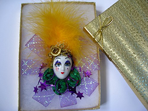 New Orleans Mardi Gras Feather Mask Pin Gift