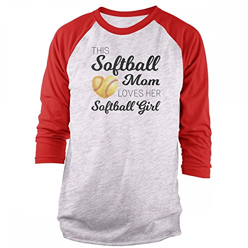 Vine Fresh Tees - This Softball Mom Loves Her Softball Girl 3/4 Sleeve Raglan T-Shirt - Large, Ash w/Red