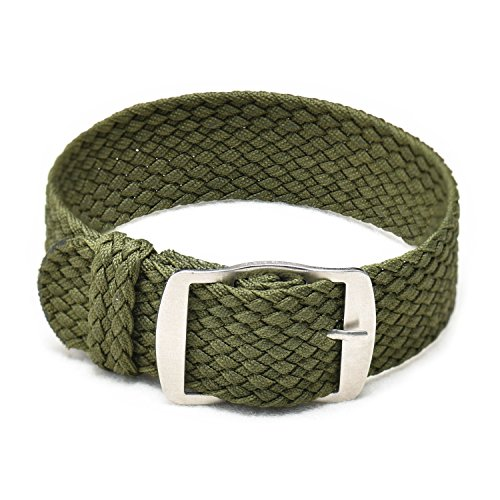 (Ullchro Nylon Watch Strap Replacement Perlon Braided Woven Watch Band NATO Men Women - 14mm, 16mm, 18mm, 20mm, 22mm Watch Bracelet with Stainless Steel Silver Buckle (16mm, Army Green))