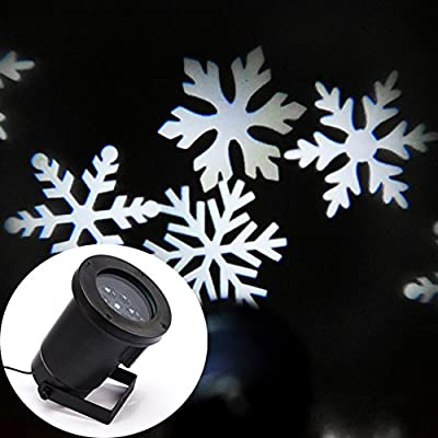 SWEON Moving Snowflakes Lamp Laser Light Spotlight Indoor/outdoor LED Landscape Projector Light, Garden and Wall Decoration Light, Party Light, Christmas Holiday Lighting(White Snow)