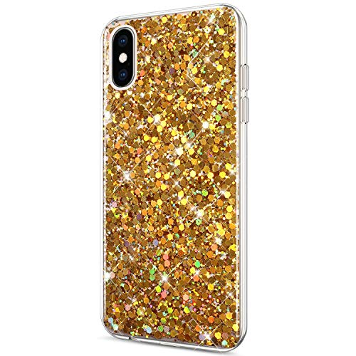 Price comparison product image ikasus Case for iPhone Xs Max Case Glitter Bling Crystal Sparkly Shiny Bling Powder 3D Diamond Paillette Slim Glitter Flexible Soft Rubber Gel TPU Protective Case Cover for iPhone Xs Max, Gold