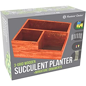 3-Grid Wooden Succulent Flower Planter Box + 5 Miniature Ornaments | Drainage Holes, Anti-Mold Base | Also Use as Desk Organizer | Great Plant Gift