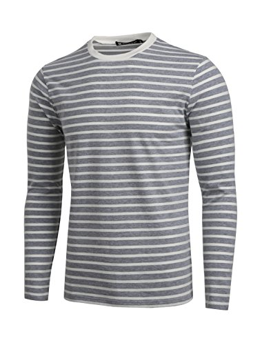 uxcell Men Crew Neck Long Sleeves Striped T-Shirt Large Gray White