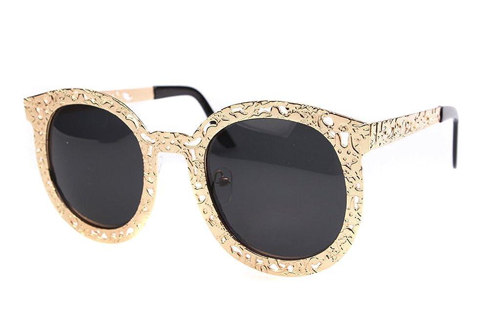 6a2c38d65b03e6 TININNA Vogue Femme Ossature Metallique Vintage Lunettes de Soleil  Anti-UV400 Femme avec Grande Cadre Rétro d or  Amazon.fr  Vêtements et  accessoires