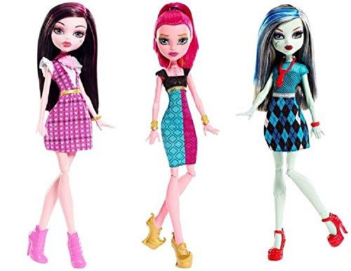 Monster High Original Ghoul Dolls Set of 3: Draculara, Gigi Grant and Frankie Stein (Monster High Gigi)
