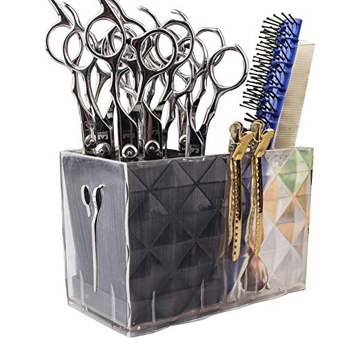 Rack Transparent Acrylic (Ozzptuu Long Professional Acylic Salon Scissors Holder Rack Hairdresser Transparent Combs Clips Storage Case Keeper Organizer Desk Organizer for Hair Stylist)