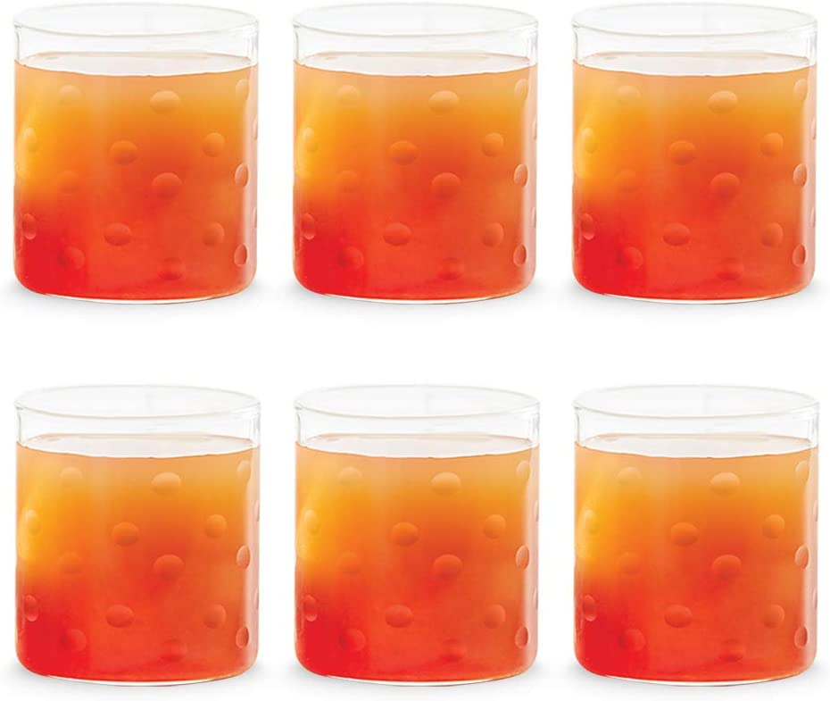 Amazon Com Borosil Vision Deco Polka Tumbler Set Of 6 Clear Lightweight Durable Drinkware 10 Ounce Cups Collins Glasses