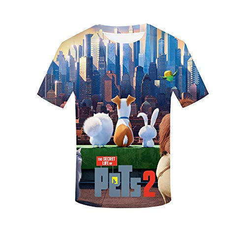 Oxking Women and Men Unisex Family Comedy Movie Summer 3D Graphic Print T-Shirt The Secret Life of Pets 2 HZIJUE06 XXL