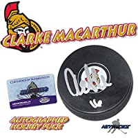 "CLARKE MACARTHUR Signed OTTAWA SENATORS Puck w/COA ""NEW"" w/HOLOGRAM - Autographed NHL Pucks"