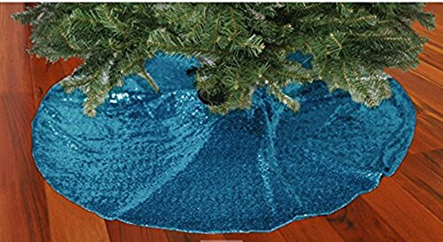 TRLYC Glittery Sequin Holiday Tree Skirt, 48-Inch Turquoise Christmas Tree Skirt ()