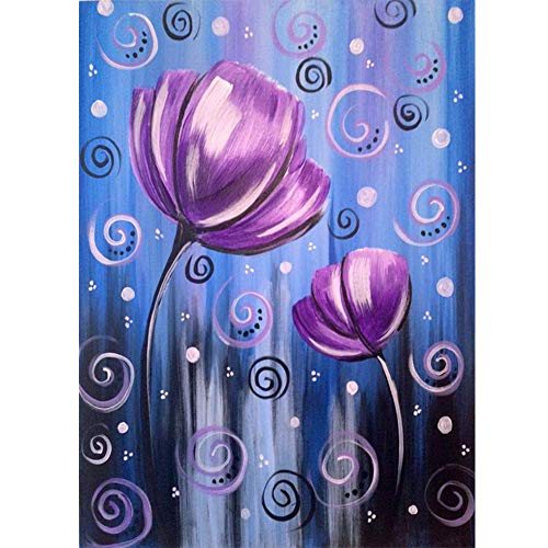 Adults' Paint by Number Kits for Full Drill DIY 5D Diamond Painting,Crystal Rhinestone Diamond Embroidery Pictures Arts Craft for Home Wall Decor,Purple Tulip (Best Landscape Paintings Of All Time)
